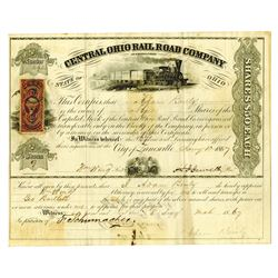 Central Ohio Rail Road Co. As Reorganized, 1867 Issued and Uncancelled Stock Certificate