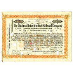 Cincinnati Inter-Terminal Railroad Co., 1908 Issued Stock Certificate