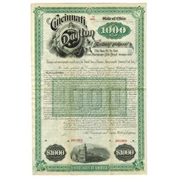 Cincinnati, and Dayton Railway Co., 1887 Specimen Bond