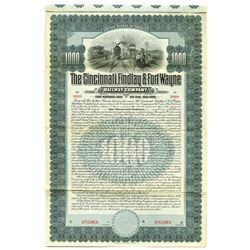 Cincinnati, Findlay & Fort Wayne Railway Co., 1903 Specimen Bond
