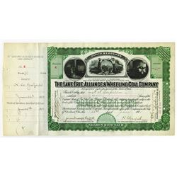 Lake Erie, Alliance & Wheeling Coal Co., 1901 Stock Certificate Signed by President Garfield's Sons.