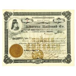 Alberene Railroad Co., 1896 Issued Stock Certificate