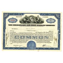 Chesapeake and Ohio Railway Co., 1935-1960 Group of Issued Stock Certificates