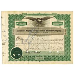 Nicholas, Fayette and Greenbrier Railroad Co., 1932 Issued Stock Certificate