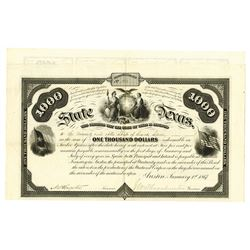 "State of Texas, 1867 Issued ""Common School and University Fund"" Bond."