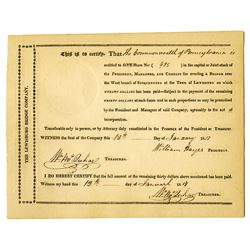 President, Managers, and Co., 1817 Issued Stock Certificate