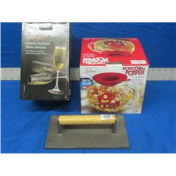 New bundle of 3 kitchen items 4 outdoor wine glasses