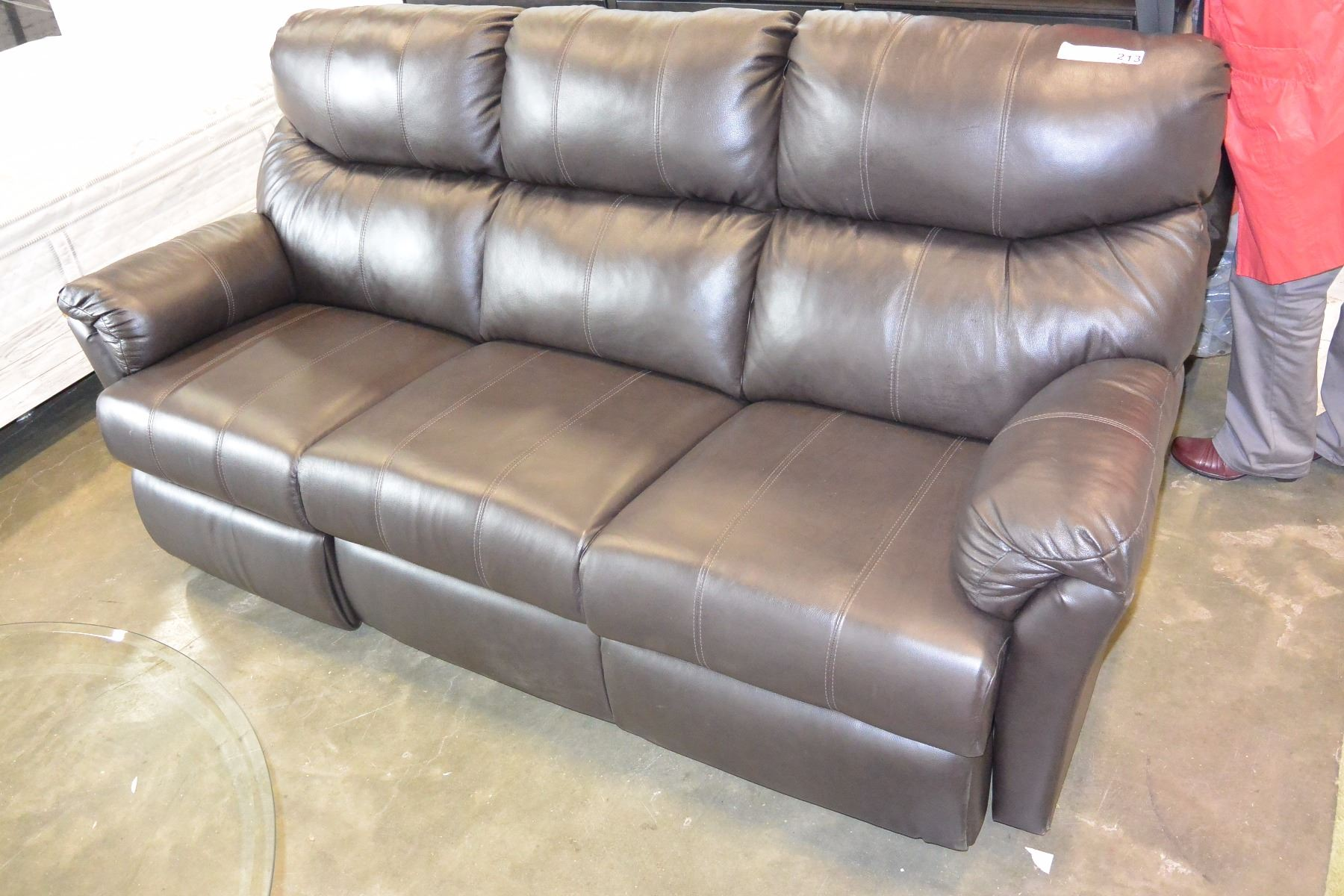 Fantastic New Floor Model Brown Leather Sears Home Double Power Reclining Sofa Small Tear On Corner Retail 17 Ncnpc Chair Design For Home Ncnpcorg