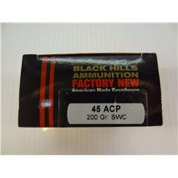 20 ROUNDS BLACK HILLS .45ACP 200 GRAIN SWC