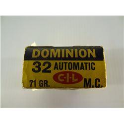 42 ROUNDS DOMINION .32 AUTO 71 GRAIN FMJ