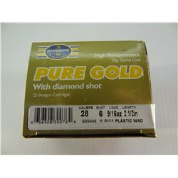 """25 ROUNDS GAMEBORE . 28 CAL  2 1/2"""" 6"""