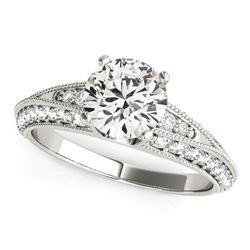 14K White Gold Pronged Round Antique Diamond Engagement Ring (1 1/2 ct. tw.)