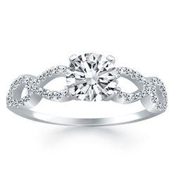 14K White Gold Double Infinity Diamond Engagement Ring