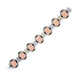 18K Yellow Gold & Sterling Silver Bracelet with Quartz  Rhodolite  & Diamonds
