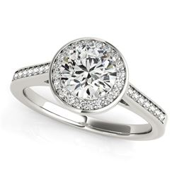 14K White Gold Halo Round Diamond Engagement Ring (1 1/4 ct. tw.)