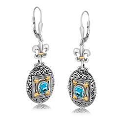 18K Yellow Gold and Sterling Silver Fleur De Lis Accent Blue Topaz Drop Earrings