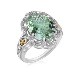 18K Yellow Gold and Sterling Silver Decorative Green Amethyst Ring (.03 ct. tw.)
