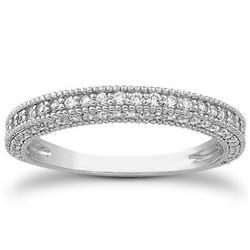 14K White Gold Fancy Pave Diamond Milgrain Textured Wedding Ring Band