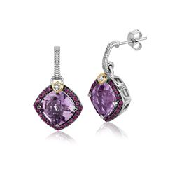 18K Yellow Gold and Sterling Silver Purple Tone Gem Drop Earrings (.43 ct. tw.)
