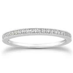 14K White Gold Diamond Micro Pave Diamond Milgrain Wedding Ring Band