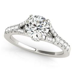 14K White Gold Split Shank Round Prong Set Diamond Engagement Ring (1 3/8 ct. tw.)