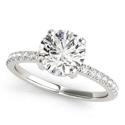 14K White Gold Round Diamond Engagement Ring with Scalloped Single Row Band (2 1/4 ct. tw.)