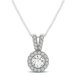 Round Pendant with Split Bail and Diamond Halo in 14K White Gold (3/4 ct. tw.)