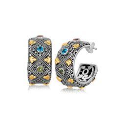 18K Yellow Gold and Sterling Silver Half Hoop Earrings