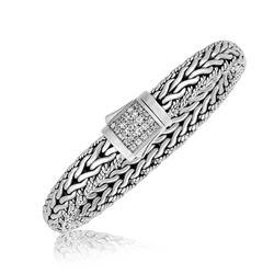 Sterling Silver Braided Design Men's Bracelet with White Sapphire Stones