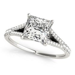 14K White Gold Princess Cut Split Shank Diamond Engagement Ring (1 1/8 ct. tw.)