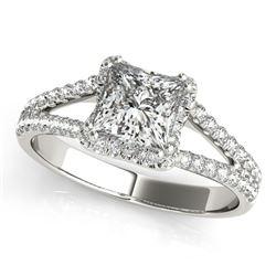 14K White Gold Princes Cut Halo Split Shank Diamond Engagement Ring (2 ct. tw.)