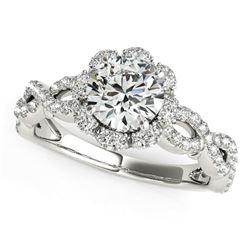 14K White Gold Flower Motif Split Shank Round Diamond Engagement Ring (1 5/8 ct. tw.) Sizes: 5-9