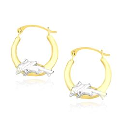 10K Two-Tone Gold Round Graduated Dolphin Design Hoop Earrings