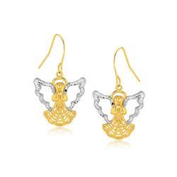 Two-Tone Angel Drop Earrings in 10K Gold