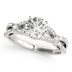 14K White Gold Round Diamond Engagement Ring with Multirow Split Shank (1 1/4 ct. tw.)