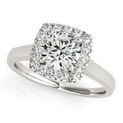 14K White Gold Square Shape Border Round Cut Diamond Engagement Ring (1 1/3 ct. tw.)