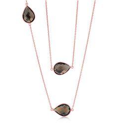 Pink Sterling Silver Long Pear Shape Smoky Quartz Necklace