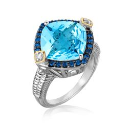18K Yellow Gold and Sterling Silver Cushion Blue Topaz  Iolite  and Diamond Ring