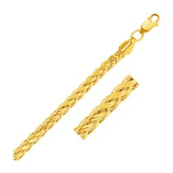5.2mm 14K Yellow Gold Diamond Cut Round Franco Chain