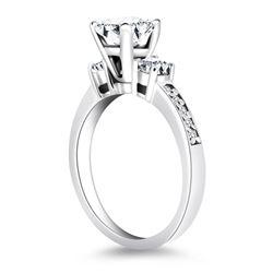 14K White Gold Three Stone Engagement Ring with Diamond Band