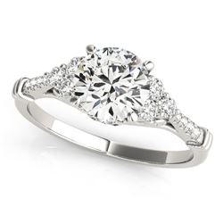 14K White Gold Side Clusters Round Diamond Engagement Ring (1 1/8 ct. tw.)