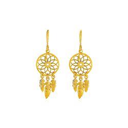Dream Catcher Earrings in 14K Yellow Gold