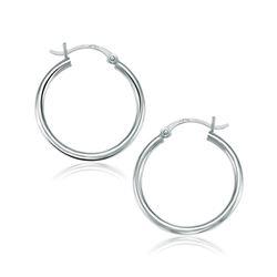 10K White Gold Polished Hoop Earrings (25 mm)