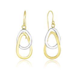 Entwined Polished Open Teardrop Earrings in 10K Two-Tone Gold