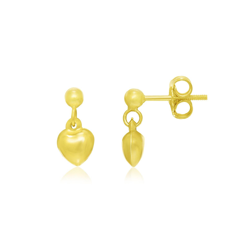 c4a20eb2b Image 1 : 14K Yellow Gold Puffed Heart Children's Dangling Earrings