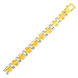 Mens Geometric Motif Link Bracelet in 14K Two Tone Gold