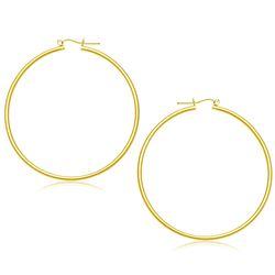 14K Yellow Gold Polished Hoop Earrings (55 mm)