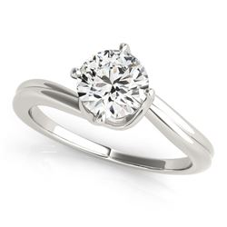14K White Gold Bypass Style Solitaire Round Diamond Engagement Ring (1 ct. tw.)