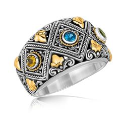 18K Yellow Gold and Sterling Silver Ornate Ring with Multi Gemstone Accents