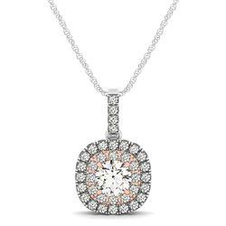 14K White And Rose Gold Cushion Shape Halo Diamond Pendant (1/2 ct. tw.)